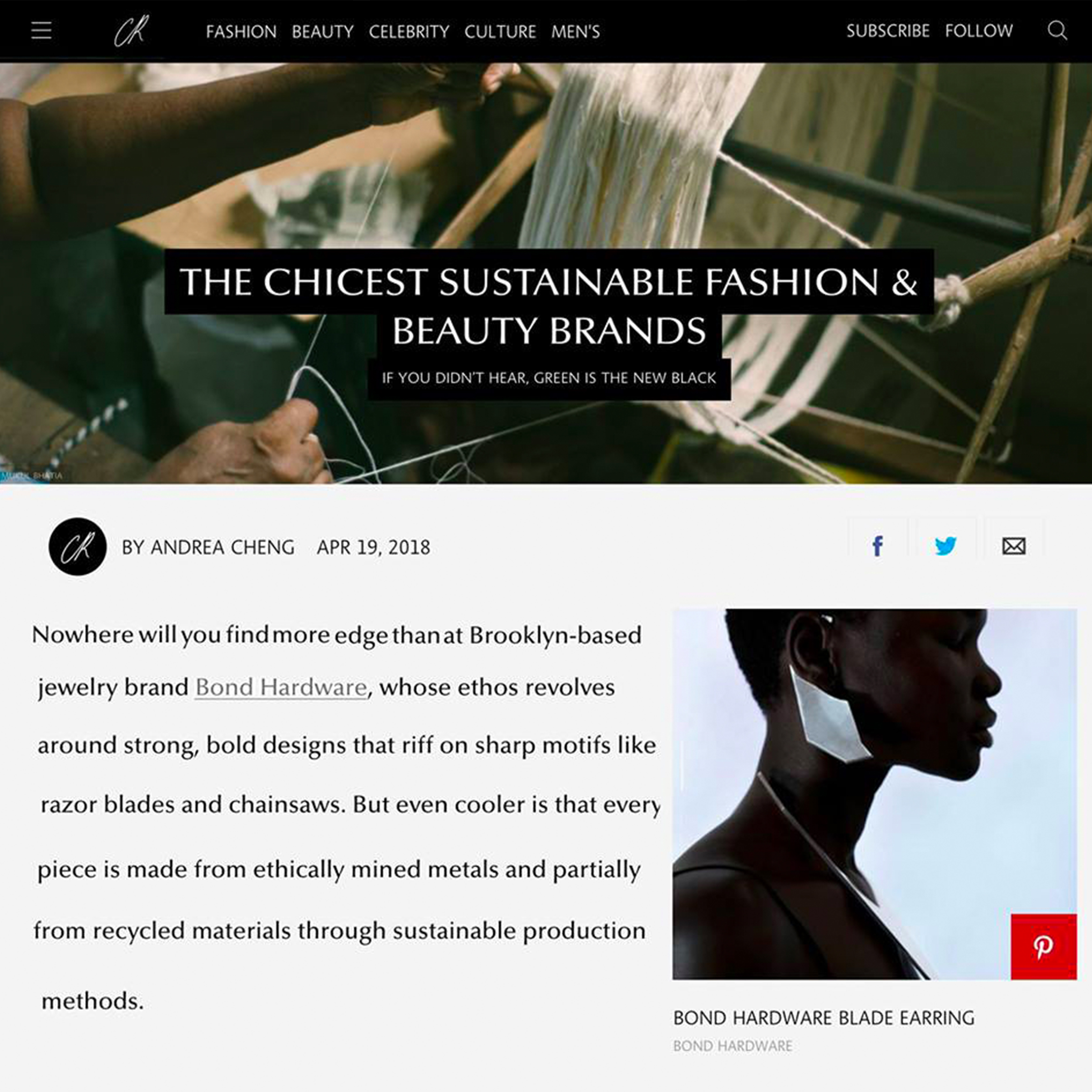 CR Fashion Book Names BOND Hardware Among the Chicest Sustainable Fashion & Beauty Brands